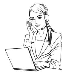 a secretary with headphones vector image vector image