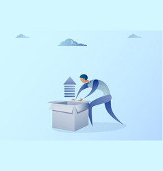 business man opening box with financial arrow up vector image