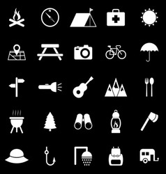 Camping icons on black background vector image vector image