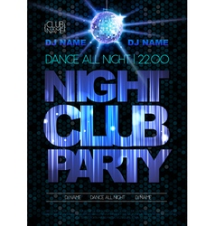 Disco background Disco poster Night club party vector image