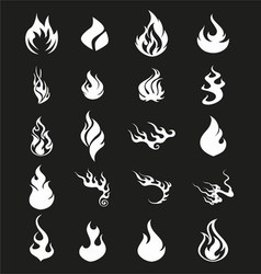Fire Flames Set Icons Symbol vector image