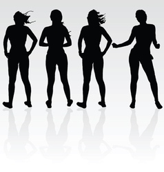 girl four silhouette black vector image vector image