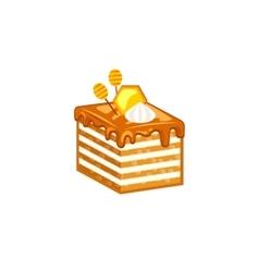 Honey cake isolated on white background vector