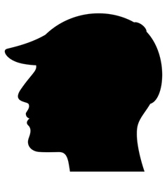 Man Head Silhouette with Cap vector image vector image