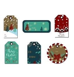 Christmas gift tags set vector