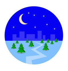 city metropolis in the winter snow night vector image