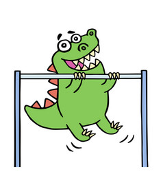cute green dragon stretches upwards on the vector image vector image