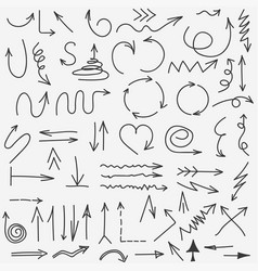 doodle arrows collection hand drawn black arrow vector image vector image