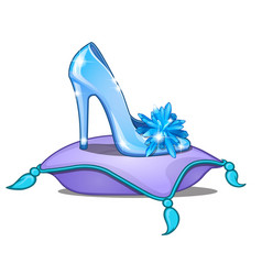 Elegant crystal princess shoe on cushion vector