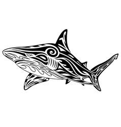 shark tribal tattoo vector image vector image