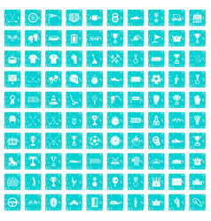 100 awards icons set grunge blue vector image