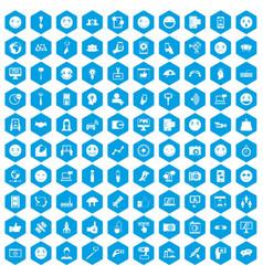 100 social media icons set blue vector
