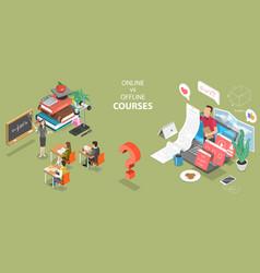 3d isometric flat concept online courses vector image