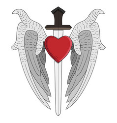 Angel wing heart and sword perfect for design vector
