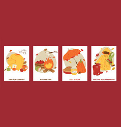 Autumn symbols banner items card with clothes vector
