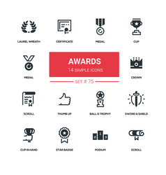 awards - line design silhouette icons set vector image