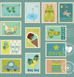 Baby boy postage stamps vector