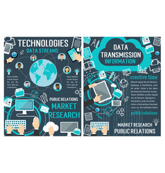 Banners about data technology vector