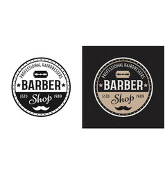 barbershop two style black colored badge vector image