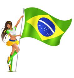Beautiful woman holding flag of brazil soccer fan vector