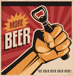 Beer retro poster design with revolution fist vector image