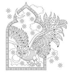 bird fairy tale fairyland owl window antique vector image
