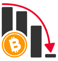 bitcoin falling acceleration chart flat icon vector image