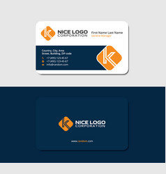 Business card with the letter k orange color vector