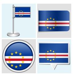 Cape Verde flag - sticker button label vector