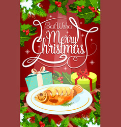 Christmas eve dinner banner with gift and fish vector