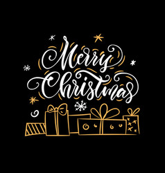 christmas lettering calligraphy vector image