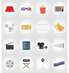 cinema flat icons 17 vector image