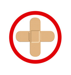 Circular frame with band aid in cross form vector