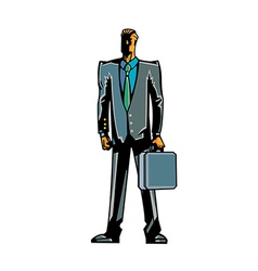 Close-up of man holding suitcase vector image