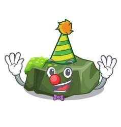 Clown green rock moss isolated on cartoon vector