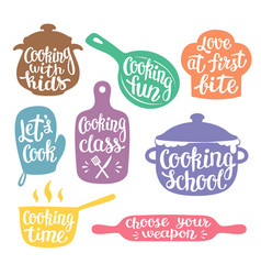 collection of silhouettes for cooking label vector image
