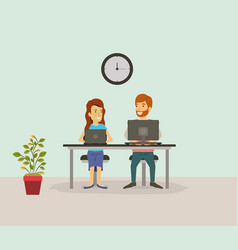 Color background with couple worker sitting in vector