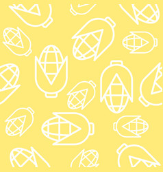 Corn seamless pattern outline vegetable wallpaper vector