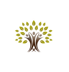 creative people tree logo vector image