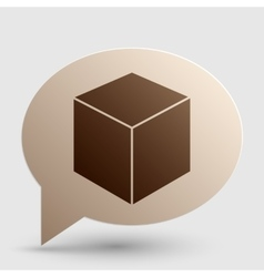 Cube sign Brown gradient icon on vector image