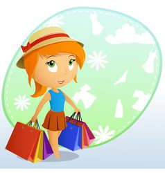 cute girl shopping vector image