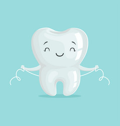 Cute healthy white cartoon tooth character vector