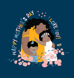 Cute mother hugging their children happy mothers vector