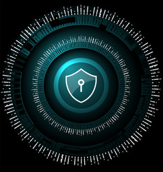cyber security shield lock vector image