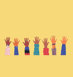 diverse young people hands on isolated background vector image