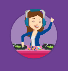 dj mixing music on turntables vector image