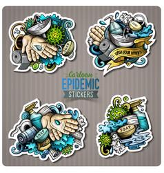 doodle cartoon set hand wash theme stickers vector image