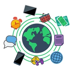 Earth surrounded web social and media icons vector image