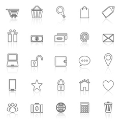 Ecommerce line icons with reflect on white vector