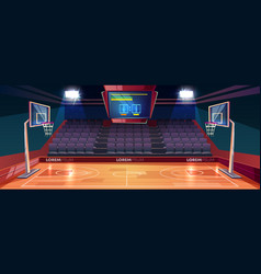 Empty basketball court cartoon vector